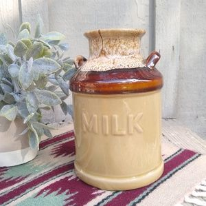Vintage Milk lettered stoneware pottery crock